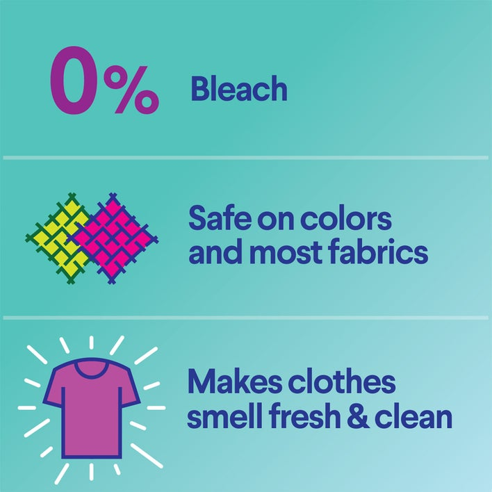 0% bleach, safe on colors and most fabrics, makes clothes smell fresh & clean